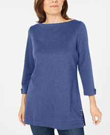 Karen Scott Button-Side 3/4-Sleeve Cotton Top, Created for Macy's