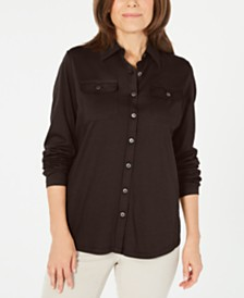 Karen Scott Mixed-Media Button-Front Top, Created for Macy's
