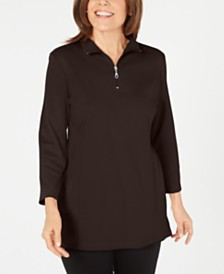 Karen Scott Cotton Half-Zip Mock-Neck Top, Created for Macy's