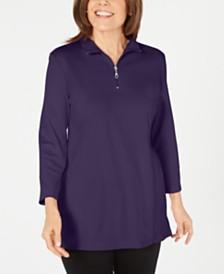 Karen Scott Cotton Half-Zip Mock-Neck Top, Created for Macy's