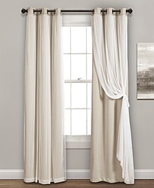"Solid and Sheer Layered 38"" x 120"" Blackout Curtain Set"