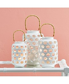 White Lattice Set of 3 Lanterns with Bamboo Handle Includes 3 Sizes - Ceramic/Bamboo/Metal