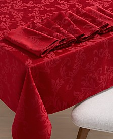 "Martha Stewart Collection Winter Scroll 120"" Dining Set with 8 Napkins, Created for Macy's"