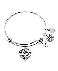 """You are my Sunshine"" Heart Adjustable Bangle Bracelet in Stainless Steel"