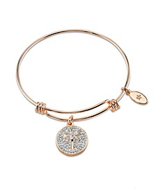 """My Family my Love"" Tree Crystal Adjustable Bangle Bracelet in Rose Gold-Tone Stainless Steel"