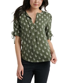 Lucky Brand Ruched-Sleeve Top