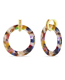 Catherine Malandrino Women's Interlock Circle Huggie Hoop Earrings