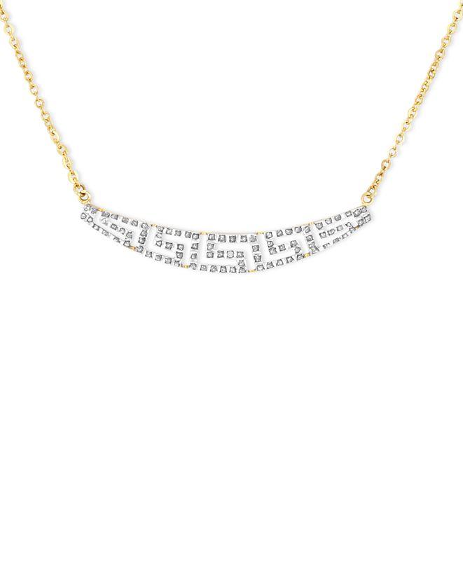 Macy's 14k Gold Necklace, Diamond Accent Tapered Greek Key Necklace