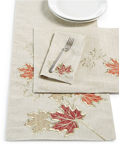 Elrene Metallic Branches Table Linen Collection
