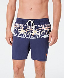 "Men's Naples Palm Terrace Stripe-Print 6"" Swim Trunks"