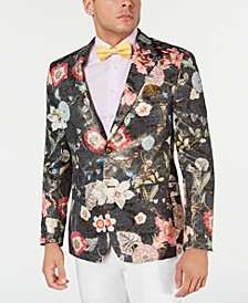 Men's Slim-Fit Gold/Black Floral Jacquard Dinner Jacket