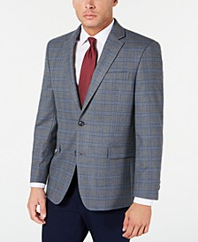 Men's Modern-Fit THFlex Stretch Gray/Blue Windowpane Sport Coat