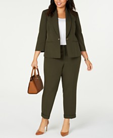 Kasper  Plus Size Turn-Key Blazer & Cuffed Pants