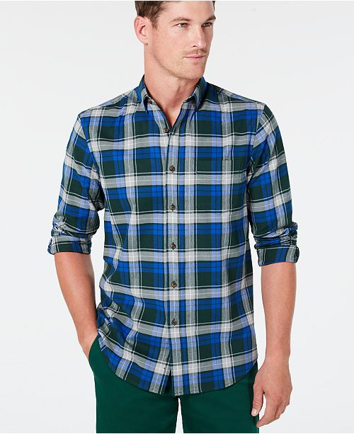 Club Room Men's Stretch Brushed Cotton Plaid Flannel Shirt, Created for Macy's