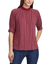 Lauren Ralph Lauren Petite Lace-Trim Mock-Neck Jersey Top