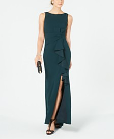 Betsy & Adam Petite Boat-Neck Bow Gown
