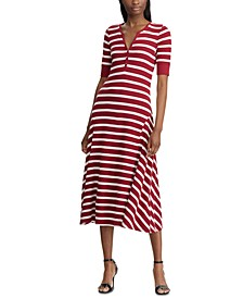 Petite Stripe-Print Cotton Fit & Flare Dress