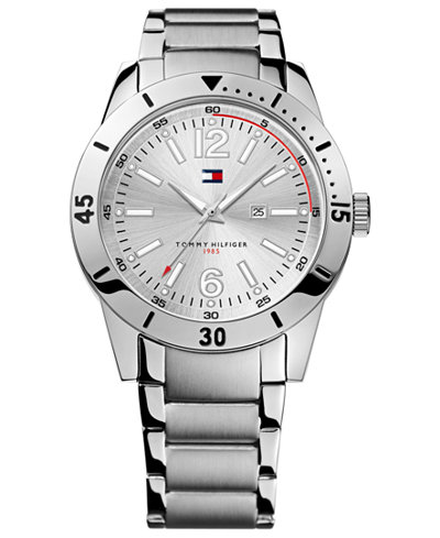 tommy hilfiger watch men 39 s silver tone bracelet 42mm 1790865 watches jewelry watches macy 39 s. Black Bedroom Furniture Sets. Home Design Ideas