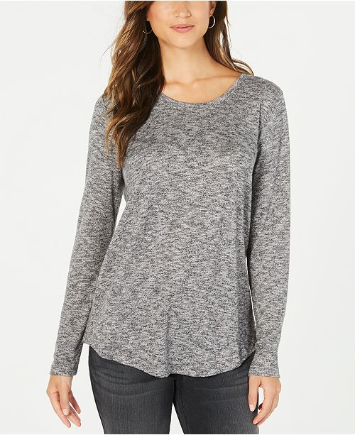 Style & Co Long-Sleeve Scoop-Neck Top, Created for Macy's