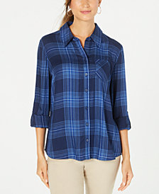 Style & Co Plaid One-Pocket Shirt, Created for Macy's