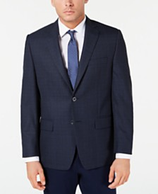 Michael Kors Men's Classic-Fit Blue Plaid Sport Coat