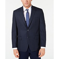 Michael Kors Men's Classic-Fit Blue Plaid Sport Coat Deals