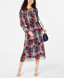 Tommy Hilfiger Printed Smocked Midi Dress, Created for Macy's