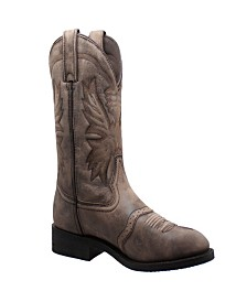"AdTec Men's 11"" Round Toe Stonewashed Pull On Western Boot"