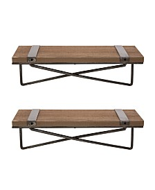 Glitzhome Farmhouse Metal and Wood Wall Shelf, Set of 2