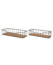 Glitzhome Farmhouse Wood and Metal Wall Shelf, Set of 2