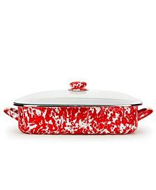 Red Swirl Enamelware Collection 10.5 Quart Roasting Pan