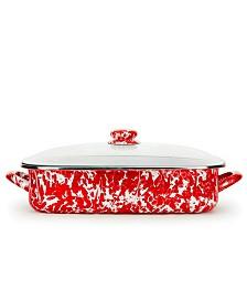 Golden Rabbit Red Swirl Collection 10.5 Quart Roasting Pan