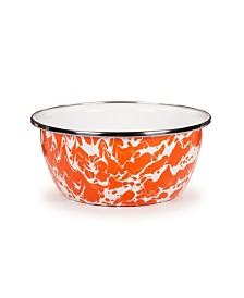 Golden Rabbit Orange Swirl Enamelware Collection 3 Cup Salad Bowl