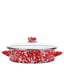 Red Swirl Enamelware Collection 8 Quart Saute Pan