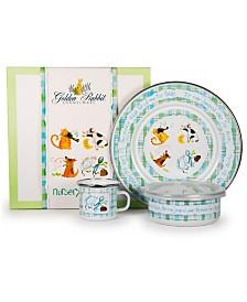 Golden Rabbit Nursery Rhyme Enamelware Collection 3 Piece Kids Dinner Set