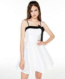 Juniors' Bow-Front Fit & Flare Dress