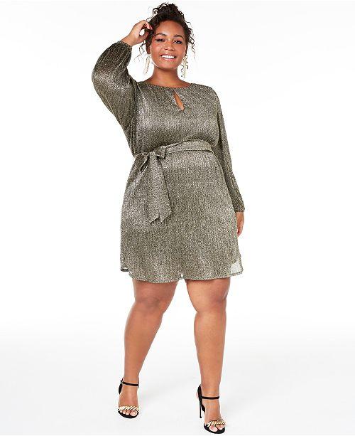 Trendy Plus Size Pleated Glitter Shift Dress