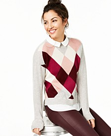 Argyle Cashmere Layered-Look Sweater, Regular & Petite Sizes, Created For Macy's