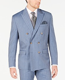Lauren Ralph Lauren Men's Classic-Fit UltraFlex Stretch Light Blue Pinstripe Double-Breasted Suit Jacket