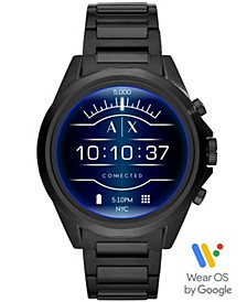 A|X Men's Connected Black Stainless Steel Bracelet Touchscreen Smart Watch 48mm, Powered by Wear OS by Google™