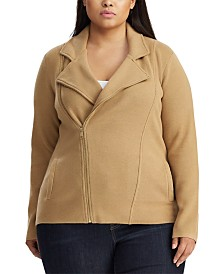 Lauren Ralph Lauren Plus Size Sweater-Knit Moto Jacket