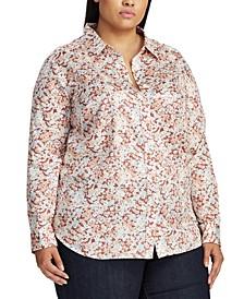 Plus Size Floral-Print Cotton Sateen Shirt