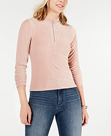 Juniors' Corduroy Mock-Neck Zip-Up Top