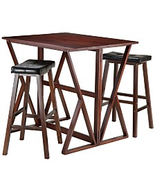 Winsome Wood Harrington 3-Piece Drop Leaf High Table