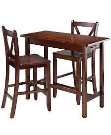 Winsome Wood Sally 3-Piece Breakfast Table Set with 2 V-Back Stool