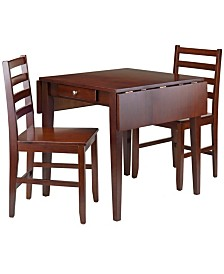 Winsome Wood Hamilton 3-Piece Drop Leaf Dining Table with 2 Ladder Back Chairs