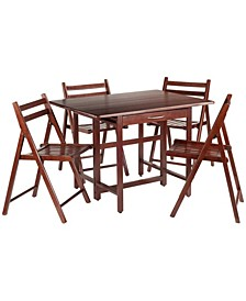 Taylor 5-Piece Drop Leaf Table with 4 Folding Chairs Set