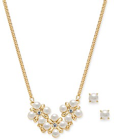 """Charter Club Gold-Tone Crystal and Imitation Pearl Cluster Collar Necklace & Stud Earrings Set, 17"""" + 2"""" extender, Created for Macy's"""