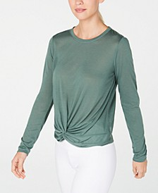 Twist-Front Long-Sleeve Top