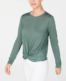 Calvin Klein Performance Twist-Front Long-Sleeve Top